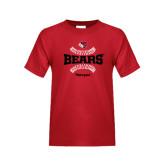 Youth Red T Shirt-Softball Seams Design