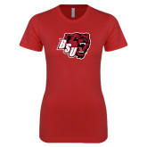 Next Level Ladies SoftStyle Junior Fitted Red Tee-BSU w/ Bear Head