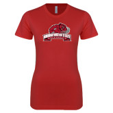 Next Level Ladies SoftStyle Junior Fitted Red Tee-Bridgewater State University w/ Bear