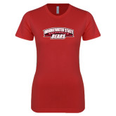 Next Level Ladies SoftStyle Junior Fitted Red Tee-Bridgewater State University Bears