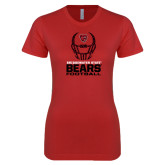Next Level Ladies SoftStyle Junior Fitted Red Tee-Football Helmet Design