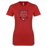 Next Level Ladies SoftStyle Junior Fitted Red Tee-Soccer Shield Design