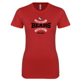 Next Level Ladies SoftStyle Junior Fitted Red Tee-Softball Seams Design