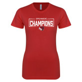 Next Level Ladies SoftStyle Junior Fitted Red Tee-2018 Mens Basketball Champions - Box