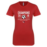 Next Level Ladies SoftStyle Junior Fitted Red Tee-2018 MSCAC Mens Soccer Champions