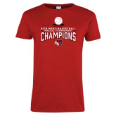 Ladies Red T Shirt-2018 Mens Basketball Champions