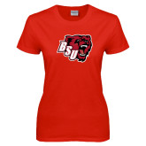 Ladies Red T Shirt-BSU w/ Bear Head