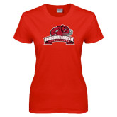 Ladies Red T Shirt-Bridgewater State University w/ Bear