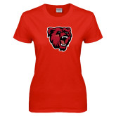 Ladies Red T Shirt-Bear Head