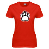 Ladies Red T Shirt-White and Black Bear Paw