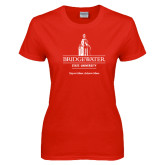 Ladies Red T Shirt-University Mark w Tag Line