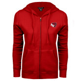 ENZA Ladies Red Fleece Full Zip Hoodie-BSU w/ Bear Head