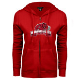 ENZA Ladies Red Fleece Full Zip Hoodie-Bridgewater State University w/ Bear