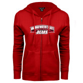 ENZA Ladies Red Fleece Full Zip Hoodie-Bridgewater State University Bears