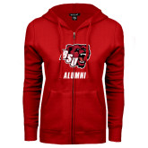 ENZA Ladies Red Fleece Full Zip Hoodie-Alumni