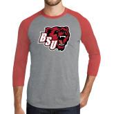 Grey/Red Heather Tri Blend Baseball Raglan-BSU w/ Bear Head