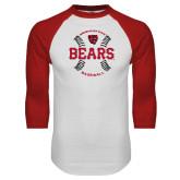 White/Red Raglan Baseball T Shirt-Baseball Seams Design