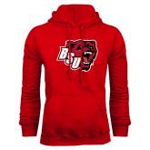 Red Fleece Hoodie-BSU w/ Bear Head