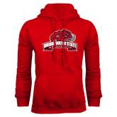Red Fleece Hoodie-Bridgewater State University w/ Bear