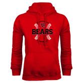 Red Fleece Hoodie-Baseball Seams Design