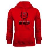 Red Fleece Hoodie-Football Helmet Design