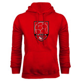 Red Fleece Hoodie-Soccer Shield Design