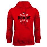 Red Fleece Hoodie-Softball Seams Design
