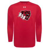 Under Armour Red Long Sleeve Tech Tee-BSU w/ Bear Head