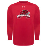 Under Armour Red Long Sleeve Tech Tee-Bridgewater State University w/ Bear