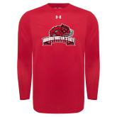 Under Armour Red Long Sleeve Tech Tee-Bridgewater State University w/ Bear