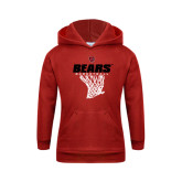 Youth Red Fleece Hoodie-Basketball Net Design