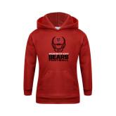 Youth Red Fleece Hoodie-Football Helmet Design