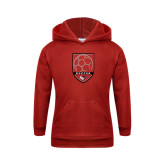 Youth Red Fleece Hoodie-Soccer Shield Design