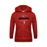 Youth Red Fleece Hoodie-Geometric Lacrosse Design