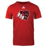 Adidas Red Logo T Shirt-BSU w/ Bear Head