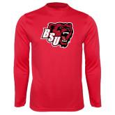 Performance Red Longsleeve Shirt-BSU w/ Bear Head