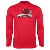 Performance Red Longsleeve Shirt-Bridgewater State University w/ Bear