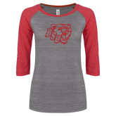 ENZA Ladies Athletic Heather/Red Vintage Triblend Baseball Tee-BSU w/ Bear Head Glitter