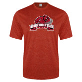 Performance Red Heather Contender Tee-Bridgewater State University w/ Bear