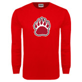Red Long Sleeve T Shirt-Red and White Bear Paw