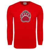 Red Long Sleeve T Shirt-Red and Gray Bear Paw