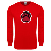 Red Long Sleeve T Shirt-Red, Black and Gray Bear Paw