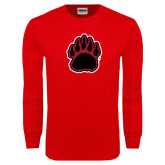 Red Long Sleeve T Shirt-Red and Black Bear Paw