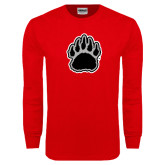 Red Long Sleeve T Shirt-Black and Gray Bear Paw