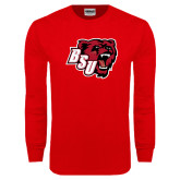 Red Long Sleeve T Shirt-BSU w/ Bear Head