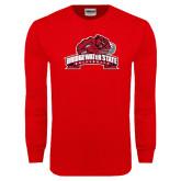 Red Long Sleeve T Shirt-Bridgewater State University w/ Bear