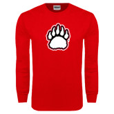 Red Long Sleeve T Shirt-White and Black Bear Paw