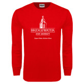 Red Long Sleeve T Shirt-University Mark w Tag Line