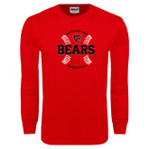 Red Long Sleeve T Shirt-Baseball Seams Design