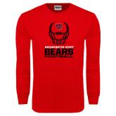 Red Long Sleeve T Shirt-Football Helmet Design